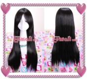 60-65cm Long Black Anime Straight Cosplay Wig Cw179