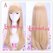55cm Long Blonde Anime Straight Smooth Cosplay Wig Cw143-a