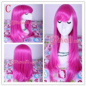 55cm Long Magenta Anime Straight Smooth Cosplay Wig Cw143-c
