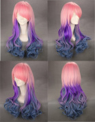 60cm Wavy Multi - Colour Pink Purple Green Lolita Costume Cosplay Wig