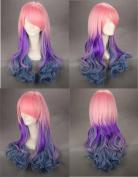 60cm Wavy Multi - Colour Pink Purple Green Lolita Costume Cosplay Wig