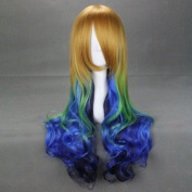 70cm Curly Gradient Blonde Green Blue Black Face Cut Lolita Cosplay Wig