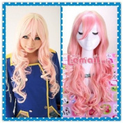 50cm Long Mixed Beige and Pink Macross Wave Cosplay Wig Cw175