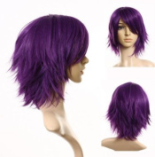 Cosplayland - C197 40cm layered flip out heat-resist Theatre Cosplay Wig - Purple