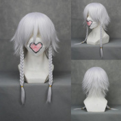 36cm Layered Silver White Cosplay Wig+ 2 braided -- Touhou Project Izayoi Sakuya