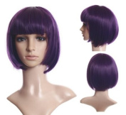 Cosplayland - C912 short straight shiny BOB Cut heat-resistant Sexy Wig - Purple