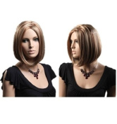 Sexy Half Light Brown Women Wig Neat Bangs Women Wig For Party