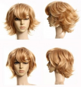 Cosplayland - C289 35cm short wavy volume layered heat-resistant Wig - brown blond