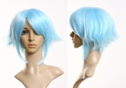 Cosplayland - C296 30cm short flip out cosplay Theatre heat-resistant Wig - light blue