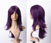 Cosplayland C439 - 60cm dark purple lavendel long bang layered cut with flipped ends heat stylable wig
