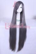L-email 100cm long dark grey straight Anime cosplay hair wig cw214