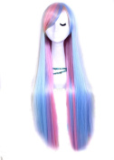 L-email long zipper multi-colour Straight Anime Cosplay hair wig CB55+a free wig cap