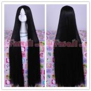 100cm long black straight cosplay hair wig ML155