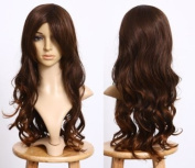 Cosplayland C084 70CM Brown & Black mixed Wave Curly natural Daily Wig