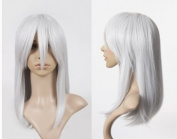 Cosplayland C057 - 50cm silver grey face forming mid-length heat-resistant straight Wig