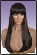 Hollywood_hair4u - Long #2 Black Brown Wig with Lightly Curled Ends Kanekalon Heat Resistant Synthetic Fibre Wig with Skin Top *New*