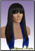 Hollywood_hair4u - Long 1B Black and Blue Razored Wig Kanekalon Heat Resistant Synthetic Fibre Wig with Skin Top *NEW*