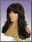 Hollywood_Hair4u - Long Razor Feathered HL4 / 27 Dark Brown with Strawberry Blonde Highlights Mix Kanekalon Heat Resistant Synthetic Wig with Skin Top *NEW*