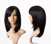 Cosplayland C316 - 50cm elegant mid-long black straight smooth face-forming Wig
