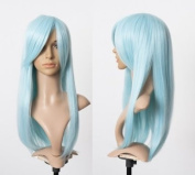 Cosplayland C088 - 60cm light blue extra volume straight long heat-stylable Halloween Wig