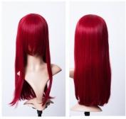Cosplayland C587 - blackberry RED 60cm Rot 60cm volume long Bangs Straight mid-long heat resist Wig