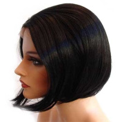 HANDSEWN SYNTHETIC FRENCH LACE FRONT FULL HAIR WIG Colour Black # 1