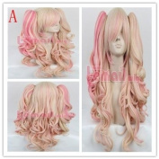 65cm Long Mixed Blonde/pink Anime Lolita Clip on Ponytail Wavy Wig Rw139-a