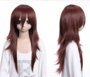 Cosplayland C392 - 60cm dark red brown long bang layered cut with flipped ends long Wig