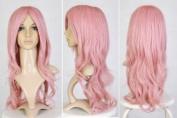 Cosplayland C706- Milkshake Pink 70cm Curly Wavy Heat-Resistant long Wig