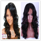 Women Medium Sex Wavy Black Lace Front Wig Lc06