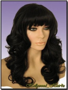 Hollywood_hair4u - Long Curly #2 Brown Black Wig with Bangs Kanekalon Heat Resistant Synthetic Fibre Skin Top *NEW*