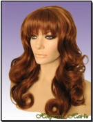 Hollywood_hair4u - Long Curly Copper Red / Auburn Mix Wig with Bangs Kanekalon Heat Resistant Synthetic Fibre Skin Top *NEW*