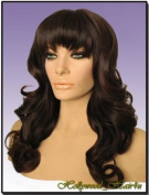 Hollywood_hair4u - Long Curly T1B/33 Black Auburn Mix Wig with Bangs Kanekalon Heat Resistant Synthetic Fibre Skin Top *NEW*