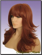 Hollywood_hair4u - Long Razor Feathered #130 Copper Red Kanekalon Heat Resistant Synthetic Wig with Skin Top *NEW*