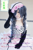 NEW double pony tail Black Curly Anime cosplay wigs party Masquerade girls 30CM + 75CM