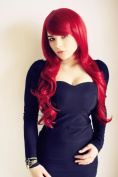 Cosplayland C422 - Dark Red 70cm long layered wavy cut Ende with straight crown heat resistant wig