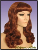 Hollywood_hair4u - Long Curly #130 Copper Red Pinup Style Wig with Bangs Kanekalon Heat Resistant Synthetic Fibre Skin Top *NEW*