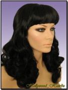 Hollywood_hair4u - Long Curly #1B Jet Black Pinup Style Wig with Bangs Kanekalon Heat Resistant Synthetic Fibre Skin Top *NEW*