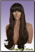 Hollywood_hair4u - Extra Long Extra Thick Wavy #6 Warm Brown Wig with Full Bangs Kanekalon Heat Resistant Synthetic Fibre Wig with Skin Top *NEW*