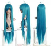 Cosplayland - C656 100cm straight thick heat-resist long Vocaloid Green Cosplay Theatre Wig