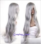 Cosplayland - C911 90cm Silver Grey Wave Curly Heat-Resistant Cosplay Party Wig