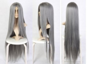 Cosplayland C775- 110cm First-Class heat-resistant extra-long FF Sephiroth Yazoo Grey Wig