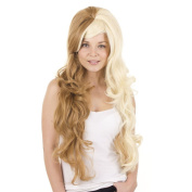 Extra Long Two Tone Curly Volume Wig | Split Caramel and Blonde | Backcombed Volume Crown | Cosplay Lolita Wig