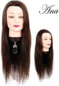 - Hairart 60cm Cosmetology Mannequin Head Human Hair, Dark Brown Hair - Anna