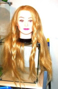 Mannequin Female Head Real Blond Hair Long 60cm