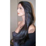 100% INDIAN REMY HUMAN HAIR FULL LACE WIG YAKI WAVE 50cm colour 1B