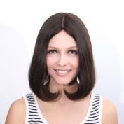 Kosher wig/Jewish wig, Mongolian Virgin Remy Human Hair Wig, 2#30cm Dark Brown Skin Top Silk Top Straight Wig