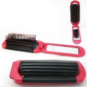 New Folding Hair Brush With Mirror Compact Pocket Size Travel Car For Purse Bag