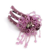 Hand Beaded Vertical Hair Barrette Purple