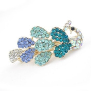 Blue Peacock Czech Crystal Rhinestone Princess Hair Barrette